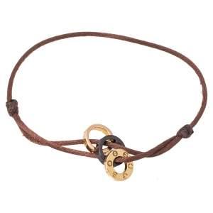 Cartier LOVE Diamond Brown Ceramic 18K Two Tone Gold 3 Hoops Silk Cord Bracelet