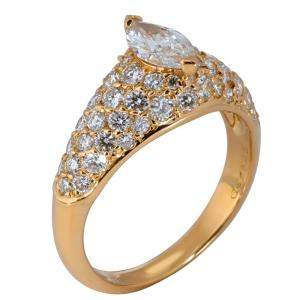 Cartier Pave Marquise Diamond Engagement 18K Yellow Gold Ring Size EU 52.5