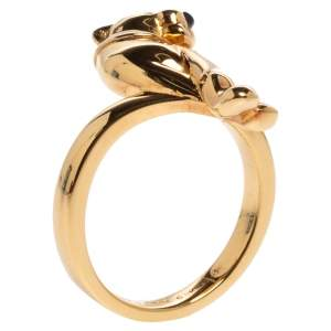 Cartier Panthere de Cartier Tsavorite Onyx 18K Yellow Gold Ring Size 52