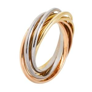 Cartier Trinity 18K Three Tone Gold 7-Band XXS Ring Size 51