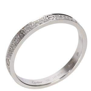 Cartier Love Diamond Wedding 18K White Gold Ring Size EU 56