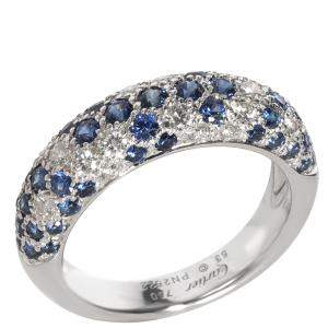Cartier Mimi Sapphire & Diamond Pave Dome 18K White Gold Ring Size EU 53