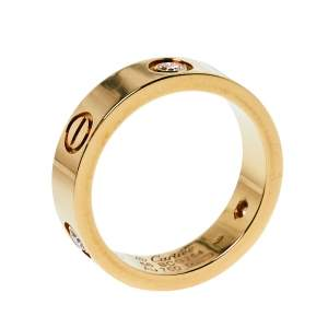 Cartier Love 3 Diamond 18K Yellow Gold Band Ring Size 56