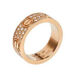 Cartier Love Diamond Paved 18K Rose Gold Ring Size 55