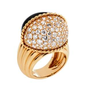 Cartier Paris Nouvelle Vague Black Jade Diamond 18K Rose Gold Cocktail Ring Size 56