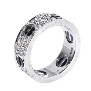 Cartier Love Ceramic Diamond Paved 18K White Gold Ring Size 52