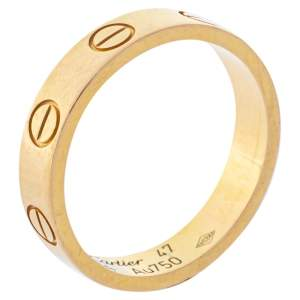 Cartier Love 18K Yellow Gold Narrow Wedding Band Ring Size 47
