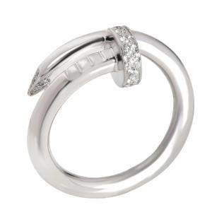 Cartier 18K White Gold Juste un Clou Diamond Ring Size 51