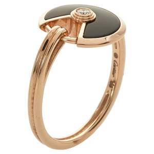 Cartier Amulette de Cartier Diamond Onyx 18K Rose Gold Ring Size 50