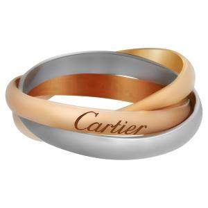 Cartier 18K Yellow, White & Rose Gold SM Trinity Ring Size EU 55