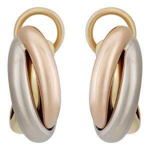 Cartier 18K Yellow, White, Rose Gold Trinity Earrings