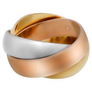 Cartier 18K Yellow, White, Rose Gold Trinity Ring Size EU 49
