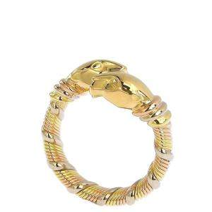 Cartier 18K Rose Gold, White Gold, Yellow Gold Panther Ring Size EU 51