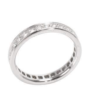Cartier 18K White Gold Vintage Ballerine Diamond Band Ring Size 51