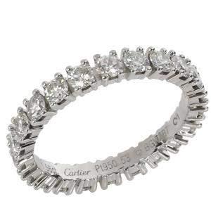 Cartier Destinee Diamond Platinum Eternity Band Ring Size EU 53