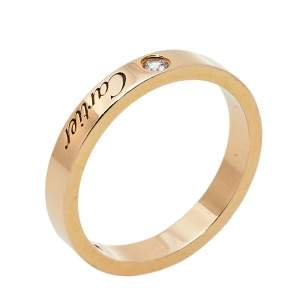 Cartier C De Cartier Diamond 18K Rose Gold Wedding Band Ring Size 53