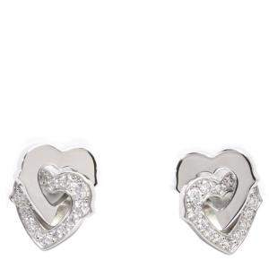Cartier Double Heart Diamond Diamond 18K White Gold Stud Earrings