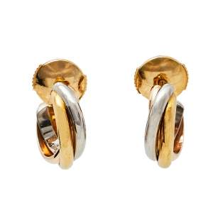 Cartier Trinity 18K Three Tone Gold Huggie Earrings Small Model