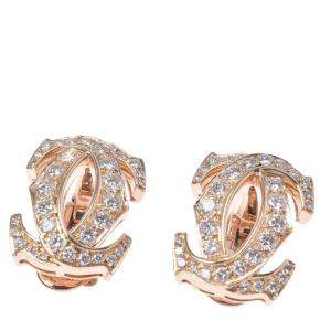 Cartier Double C 18K Yellow Gold Diamond Earrings