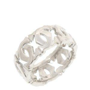 Cartier Double C 18K White Gold Ring Size EU 50