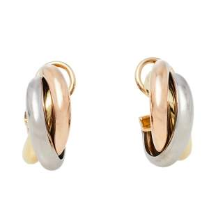 Cartier Trinity 18K Three Tone Gold Hoop Earrings