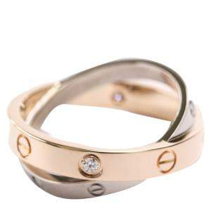 Cartier Love 6 Diamonds 18K White Gold 18K Rose Gold Ring Size EU 53