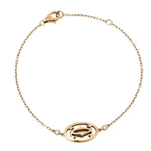 Cartier Logo Double C de Cartier Diamond 18K Rose Gold Bracelet