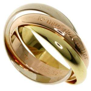 Cartier 18K Yellow Gold, Rose Gold, White Gold Trinity Ring Size 55