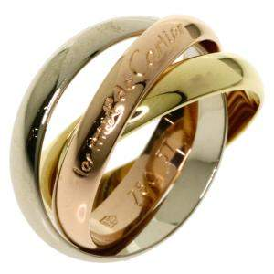 Cartier 18K Yellow Gold, Rose Gold, White Gold Trinity Ring Size 52