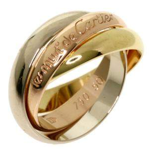 Cartier 18K Yellow Gold, Rose Gold, White Gold Trinity Ring Size 50.5