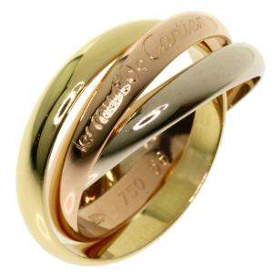 Cartier 18K Yellow Gold, Rose Gold, White Gold Trinity Ring Size 60
