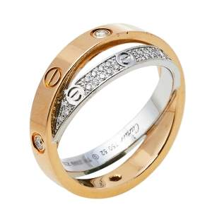 Cartier Love Diamond Paved 18K Two Tone Gold Ring Size 52