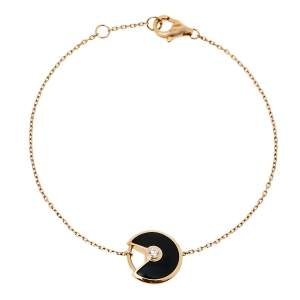 Cartier Amulette de Cartier Onyx Diamond 18K Rose Gold Bracelet