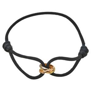 Cartier Trinity 18K Three Tone Gold Adjustable Black Cord Bracelet
