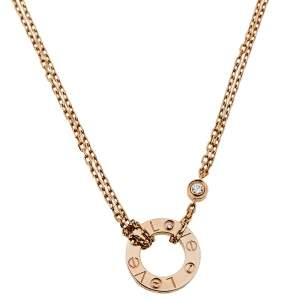 Cartier Love 2 Diamonds 18K Rose Gold Necklace