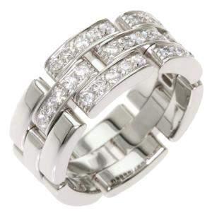 Cartier Maillon Panthere 18K White Gold Diamond Ring Size EU 52