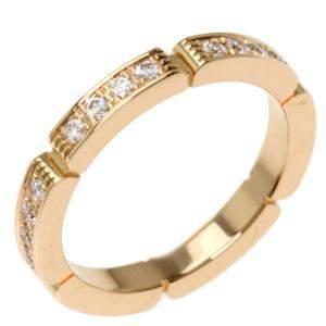 Cartier Maillon Panthere 18K Rose Gold  Diamond Ring Size EU 49