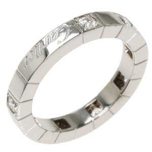 Cartier Lanieres Diamond 18K White Gold Ring Size EU 47
