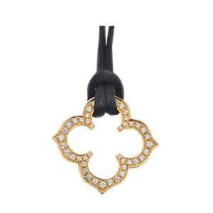 Cartier C Flat Flower 18K Yellow Gold Diamond Pendant Necklace