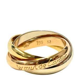 Cartier Le Must De Cartier Trinity 18K Yellow White Rose Gold Ring Size EU 52