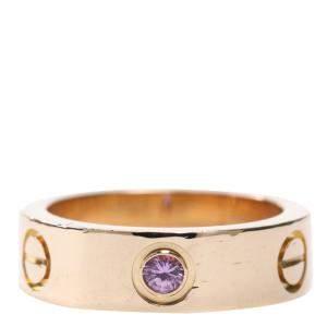 Cartier Love 18K Rose Gold Sapphire Ring Size EU 51