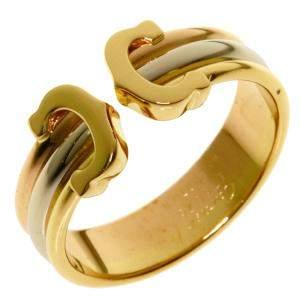 Cartier Double C 18K Yellow Gold Ring Size EU 56