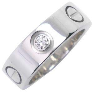 Cartier Love Diamond K18 White Gold Ring Size EU 46