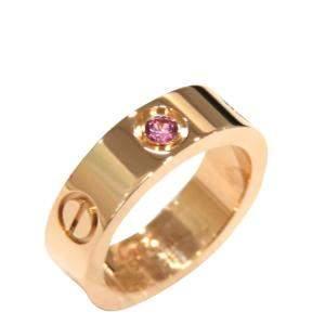 Cartier Love 18K Rose Gold Sapphire Ring Size EU 48