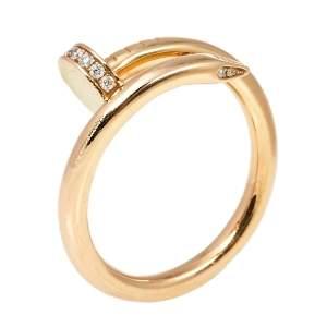 Cartier Juste Un Clou Diamond 18K Rose Gold Ring Size 59