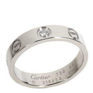 Cartier Love 18K White Gold Diamond Ring Size EU 50
