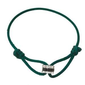 Cartier Love Diamond White Gold and Black Ceramic Hoops Green Silk Cord Bracelet