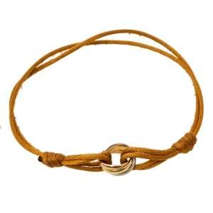 Cartier Trinity de Cartier Three Tone 18k Gold Brown Adjustable Cord Bracelet