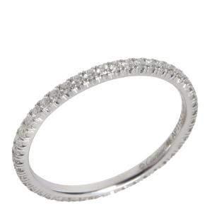 Cartier Entincelle Diamond 18K White Gold Wedding Band Ring Size EU 48