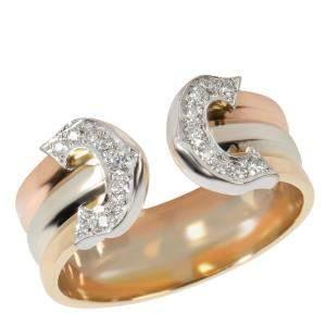 خاتم كارتييه سي دو كارتييه حلقه ذهب أبيض، ووردي، وأصفر عيار 18 وألماس مقاس أوروبي 48